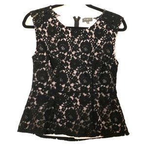 The Limited Black Lace Peplum Top